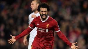 Salah celebrando un gol con la camiseta del Liverpool