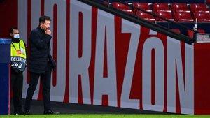 Simeone, en un partido del Atlético en el Wanda