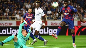 Ter Stegen es superado por Abraham en el gol del Chelsea ante el Barça