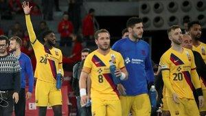 El Barça celebra el pase a la final en la Caja Mágica