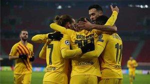 El Barça celebró tres goles ante el Ferencvaros en la primera mitad