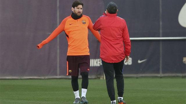 Buena sintonía entre Messi y Valverde