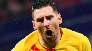 Leo Messi celebra su tanto en el Wanda Metropolitano