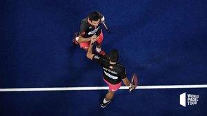 Lima y Galán celebran el pase a semifinales en el Palau Sant Jordi
