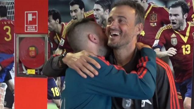 El momento más esperado: el abrazo entre Luis Enrique y Jordi Alba