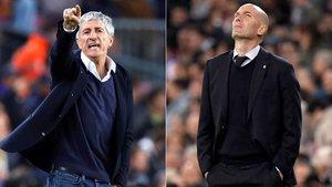 Quique Setién (FC Barcelona) y Zinedine Zidane (Real Madrid)