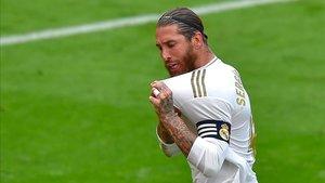 Ramos celebra su gol de penalti ante el Athletic