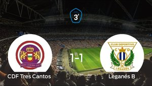 Reparto de puntos entre el Tres Cantos y el Leganés B, el marcador final fue de 1-1