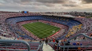 Una vista general del Camp Nou antes del inicio del partido contra el Manchester United, en abril de 2019