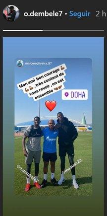 Malcom Oliveira y Ousmane Dembélé se reencontraron en Doha