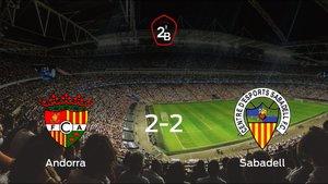 El FC Andorra y el Sabadell se reparten los puntos tras empatar a dos