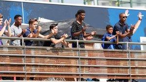 Ansu Fati, con Shane y Patrick Kluivert durante el partido del Juvenil A del Barça ante el Girona