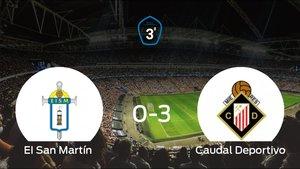 El Caudal Deportivo logra una goleada en el estadio del San Martín (0-3)