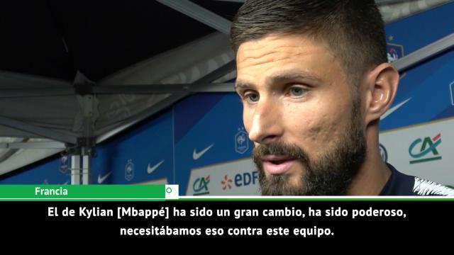 Giroud elogio a Mbappé