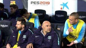 Jasper Cillessen (derecha) junto a Leo Messi (izquierda) durante el Barça-Levante de LaLiga 2018/19