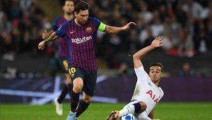 Lionel Messi marcó dos goles ante el Tottenham en la Champions League