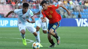 Pedri, en el debut de España en el Mundial sub 17