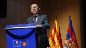 El presidente Josep Maria Bartomeu, durante un encuentro anterior con las peñas del FC Barcelona