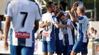 Los jugadores celebrando el primer gol de Melendo, una obra de arte