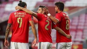 Los jugadores del Benfica celebrando un gol en una imagen de archivo