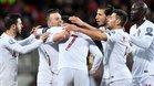 Portugal celebrando el tanto de Cristiano Ronaldo en Luxemburgo